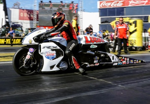 Lucas Oil Pro Stock Motorcycle Racer Hector Arana Jr  Upbeat