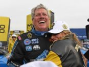 John Force with daughter Brittany Force.