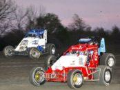 Clinton Boyles (No. 57) racing with Garrett Abrams (No. 32) and Thomas Meseraull (No. 00)